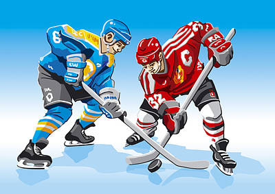 Ice Hockey Face Off Poster by Frank Ramspott