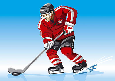 Ice Hockey Player Red Poster by Frank Ramspott