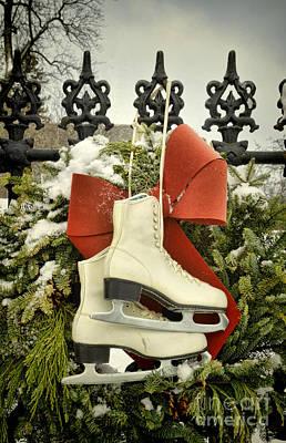 Ice Skates On An Iron Gate Poster by Jill Battaglia