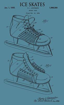 Ice Skates Patent On Blue Poster by Dan Sproul