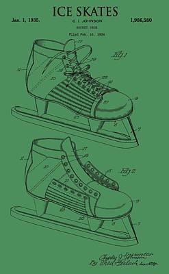 Ice Skates Patent On Green Poster by Dan Sproul