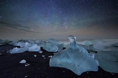 Iceberg On Black Sand Beach Poster