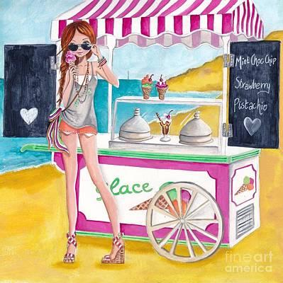 Icecream On The Beach Poster by Caroline Bonne-Muller