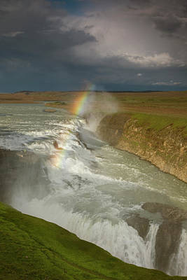 Iceland A Rainbow Arcs Over The Upper Poster by Jaynes Gallery