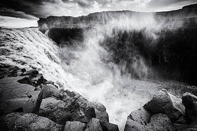 Iceland Dettifoss Waterfall Black And White Poster by Matthias Hauser