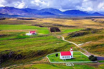 Icelandic Church And Farm Poster