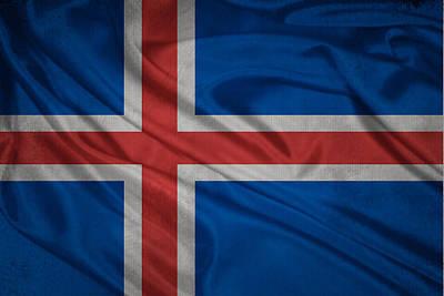 Icelandic Flag Waving On Canvas Poster by Eti Reid