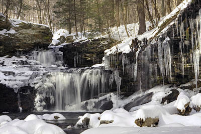 Poster featuring the photograph Icicles Decorate R. B. Ricketts Waterfall by Gene Walls