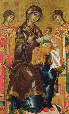 Icon Of The Virgin And Child With Archangels And Prophets Poster