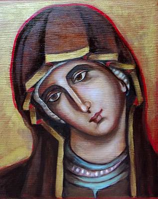 Poster featuring the painting Icon Of Virgin Mary by Irena Mohr