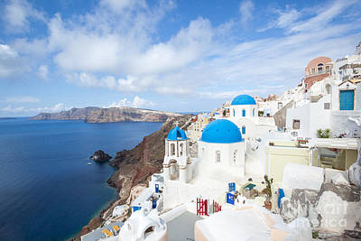 Iconic Blue Domed Churches In Oia Santorini Greece Poster