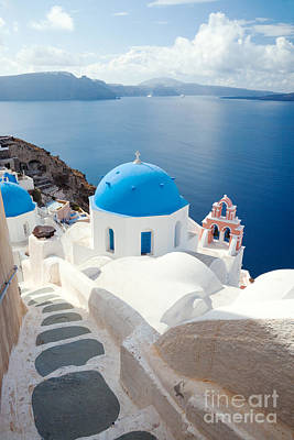 Iconic Blue Domed Churches In Santorini - Greece Poster