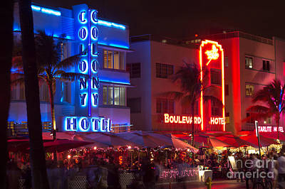 Iconic Colony Hotel South Beach Poster by Rene Triay Photography