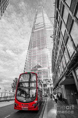 Iconic Red London Bus With The Shard - London - Selective Colour Poster by Ian Monk