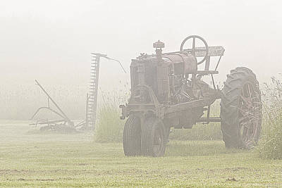 Idle Tractor In Fog Poster by Marty Saccone