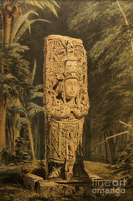 Idol At Copan By Frederick Catherwood Poster by John  Mitchell