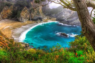 Idyllic Cove-1a. Mc Way Falls Julia Pfeiffer State Park - Big Sur Central California Coast Spring Poster