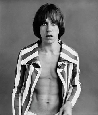 Iggy Pop Wearing A Striped Jacket Poster