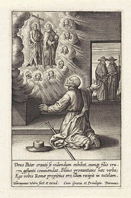 Ignatius Loyola Has A Vision Of The Crucified Christ In God Poster by Hieronymus Wierix