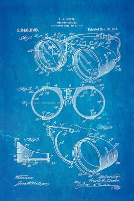 Ihrcke Welding Goggles Patent Art 1917 Blueprint Poster by Ian Monk