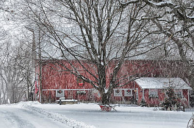 Illinois Barn II In Snow Storm Poster by Lori Davy