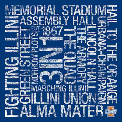 Illinois College Colors Subway Art Poster