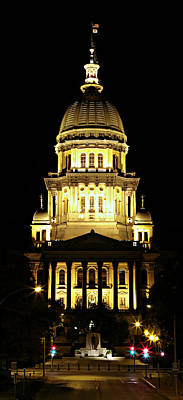 Illinois State Capitol -- Night Poster by Stephen Stookey
