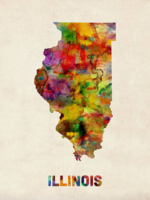 Illinois Watercolor Map Poster by Michael Tompsett