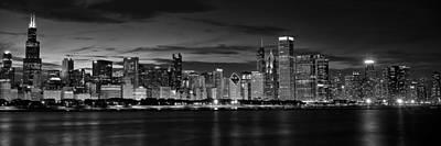 Illuminated Chicago Skyline Poster by Andrew Soundarajan