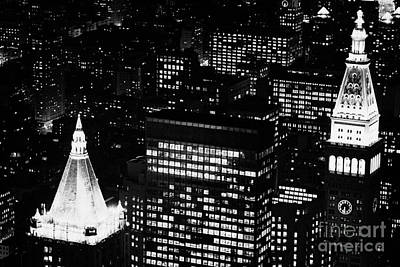 Illuminated Night View Of Roof Of New York Life Insurance Co Building And Metropolitan Life Insuranc Poster by Joe Fox