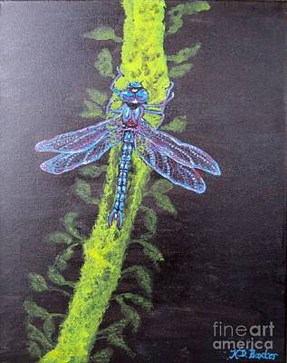Poster featuring the painting Illumination Of A Blue Dragonfly's Form At Nightfall Painting by Kimberlee Baxter