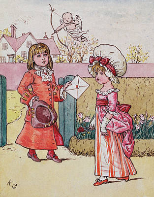 Illustration For Saint Valentines Day  Poster by Kate Greenaway