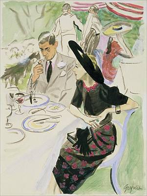Illustration Of A Couple Dining Outdoors Poster