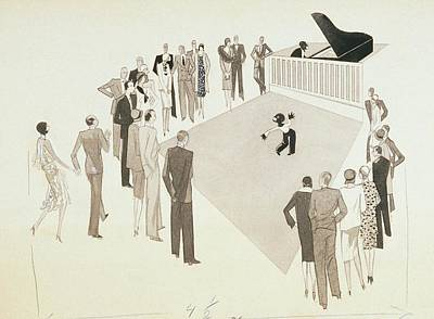 Illustration Of A Crowd Gathering To Watch Tap Poster by William Bolin