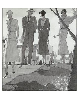 Illustration Of A Fashionable Man And Women Poster by Jean Pag?s