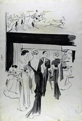 Illustration Of A Man And Women At The Plaza Poster by Jean Pages