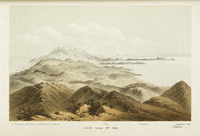 Illustration Of A Mountain Range In Crete Poster by British Library
