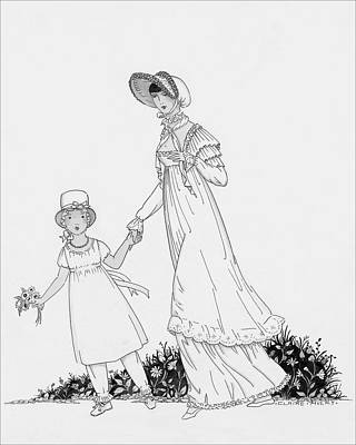 Illustration Of A Nineteenth Century Mother Poster by Claire Avery