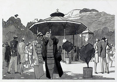 Illustration Of A People At A Fountain In Aix Les Poster by Pierre Mourgue