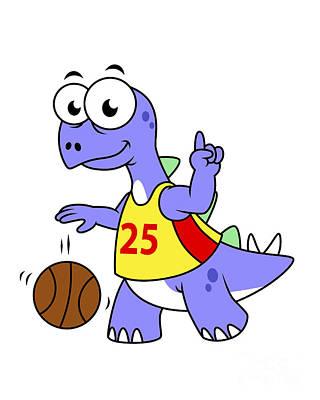 Illustration Of A Stegosaurus Playing Poster