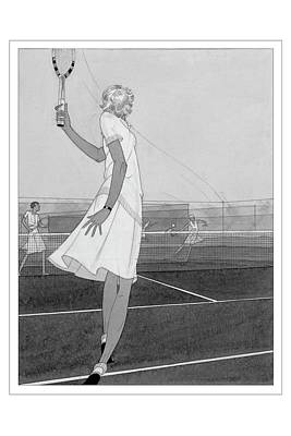 Illustration Of A Woman Playing Tennis Poster by Jean Pages