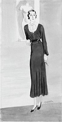 Illustration Of A Woman Wearing A Black Dress Poster by R.S. Grafstrom