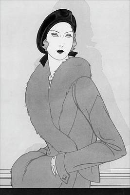 Illustration Of A Woman Wearing Beret Poster