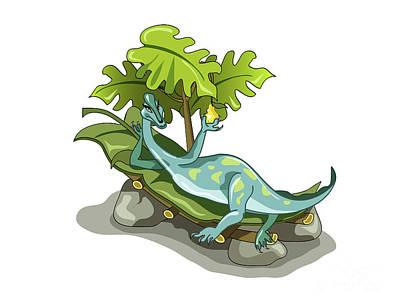 Illustration Of An Iguanodon Sunbathing Poster by Stocktrek Images