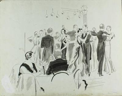Illustration Of Elsa Maxwell's Birthday Party Poster