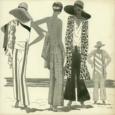 Illustration Of Four Women At A Beach Poster by Harriet Meserole