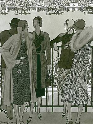 Illustration Of Four Women At The Grand National Poster by Pierre Mourgue