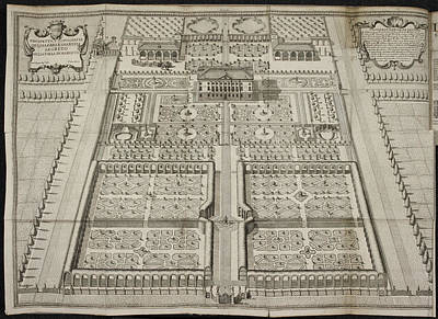 Illustration Of House And Formal Garden Poster