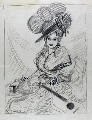 Illustration Of Mae West Wearing An Ostrich Poster