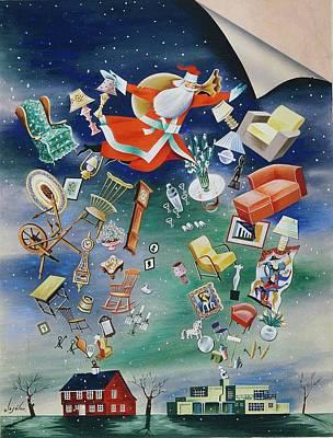 Illustration Of Santa Claus Poster by Constantin Alajalov